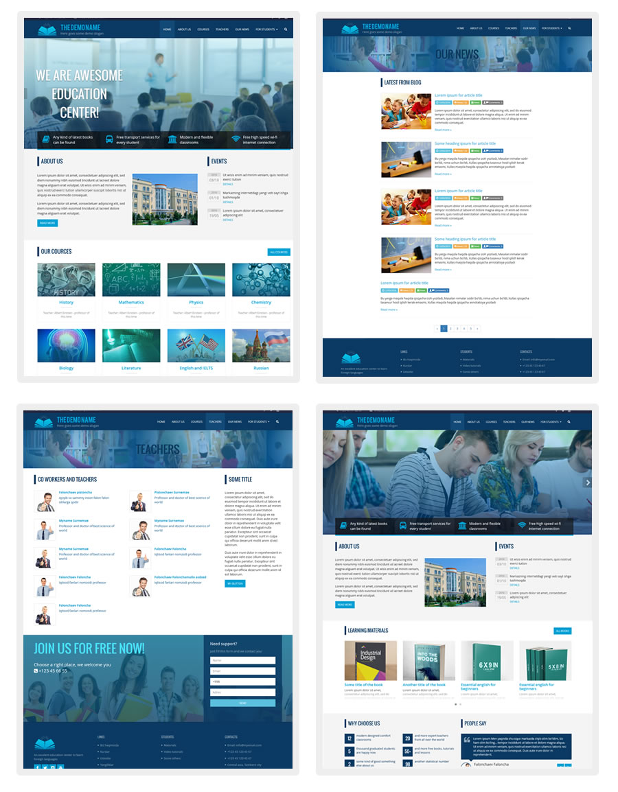 Education html template bootstrap html semantic html web site html5 educational template based on bootstrap framework can be used for education cources e learning maxwellsz