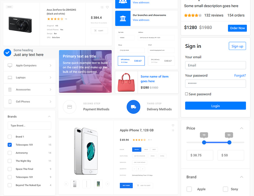 Bootstrap ecommerce template, html components | Semantic html web ...
